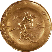 ~BIG 1800's Neoclassical Nude Woman Figure Cherub Bronze Bas Relief Wall Plaque~