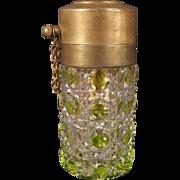 1800's Victorian Czech Cut to Clear Glass Crystal Perfume Atomizer Bottle Val St. Lambert