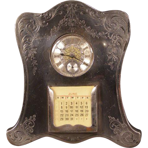 1800's Victorian Silver Perpetual Calendar Pocket Watch Holder Stand Frame Plaque