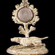 19c Victorian Pocket Watch Holder Stand Dog Lab Statue Figurine Cast Iron Figure