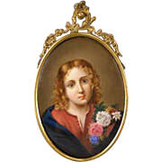 19c BIG Antique Porcelain Portrait Plaque Oil Painting KPM German Bronze Wagner