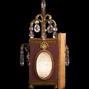 30s Art Deco Carved Intaglio Fairy Portrait Satin Glass Prism Lamp Light Crystal