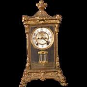 1800's Ansonia Elysian Bronze Case Crystal Regulator Carriage Mantle Shelf Clock