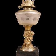 "1880's Antique Cast Iron ""Grape Harvest"" Pattern Cut Glass Figural Kerosene Oil Lamp"