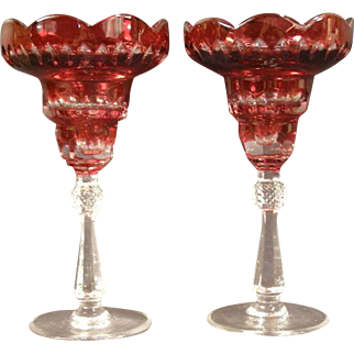 Antique Cranberry Glass Val St Lambert Candle Holder Stick Cut to Clear Crystal