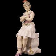 19c German Galluba Hoffman Porcelain Dresden Figure Figurine Feather Dancer Woman