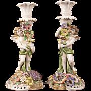 1800s Meissen Dresden German Porcelain Cherub Candle Holder Stick Von Schierholtz