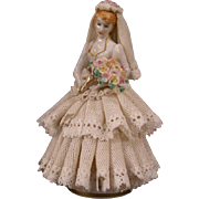 ~Antique Irish Dresden German Porcelain Slip Lace Wedding Bride Figurine Figure~