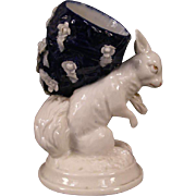 1800's Dresden German Porcelain Elfinware Match Safe Bunny Rabbit Figurine Figure