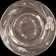 19c Hawkes Gravic Intaglio Cut Glass American Brilliant Period Plate Satin IRIS