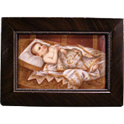 19c KPM Hand Painted Baby wBlanket German Oil Painting Porcelain Portrait Plaque