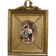 1800's Victorian SIGNED Wagner Porcelain Portrait Plaque Bronze Frame Oil Painting