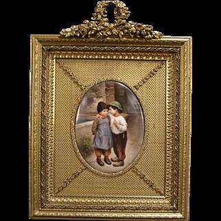 1800's Victorian SIGNED Wagner Porcelain Portrait Plaque Bronze Frame Oil Painting