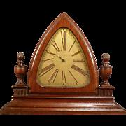 RARE 20's Art Deco Mahogany 8 Day Shelf Mantle Clock Flame Finial Urn Garniture