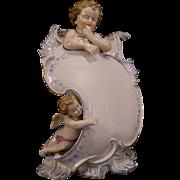 1800's Meissen Dresden German Porcelain Figurine Cherub Menu Board Statue Figure