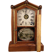 19c Reverse Painted Steeple Case Cathedral Children Portrait Mantle Shelf Clock