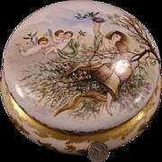LG 19c Limoges Hand Painted Porcelain Portrait Jewelry Casket Trinket Powder Box