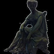 Unique Antique Spelter / Bronze  Metal Diana - Artemis Goddess of The Hunt Statue Figurine