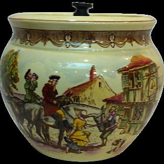 Vintage Royal Winton / Grimwades Porcelain Tobacco Jar/ Humidor Hand Painted - England