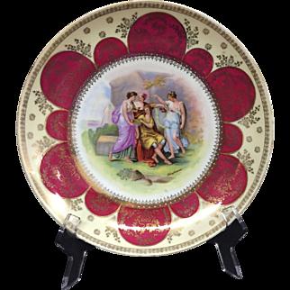 Josef Riedl Austria porcelain wall plate / dish signed Kauffmann 1890 -1918