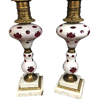 Pair Czechoslovakia Bohemian Table Lamps Cased Glass Cut to Cranberry