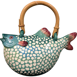 Rare Vintage Animal & Co Puffer Fish Teapot Shades Of Turquoise