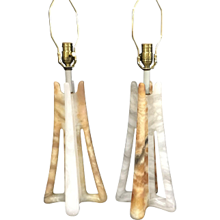 Rare Pair of Unique Contemporary Italy Alabaster Table Lamps