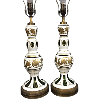 Vintage Pair of Bohemian Cased Glass Cut to Green Table Lamps with Gold Accent