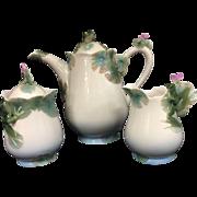 Franz Porcelain Amphibia Frog Teapot, Creamer and Sugar Bowl Set