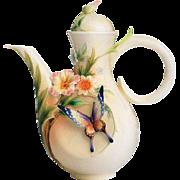 Franz Porcelain Fluttering Beauty Flower & Butterfly Teapot - original box
