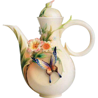 Franz Porcelain Fluttering Beauty Flower & Butterfly Teapot - original box