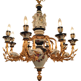 Beautiful Dresden/Meissen Style Porcelain Chandelier Cobalt Blue / White Cherubs / Birds