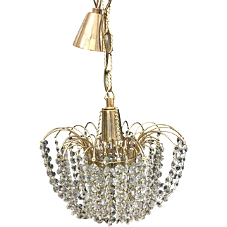 Vintage Czech Crystal Waterfall Chandelier