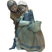 Rare Lladro Hand Made Boy and Girl with Duck, Dog Figurine, Spain 1983