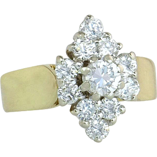 Estate Vintage 14 Karat Yellow Gold 1.50 cttw Genuine Diamond Engagement Ring