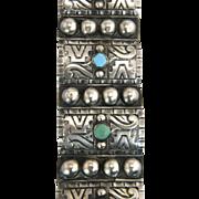 Estate Vintage Casa Prieto Mexico Turquoise 925 Silver Chunky Bracelet