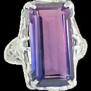 Vintage Estate White 18 Karat Gold 2.40ct Amethyst & Diamond Ring 5.1g