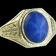 Vintage Estate 10 Karat Gold 3.85ct Linde Blue Star Sapphire Ring 5.5g