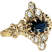 Antique Victorian .85 cttw Genuine Diamond & Blue Sapphire Ring Circa 1800's