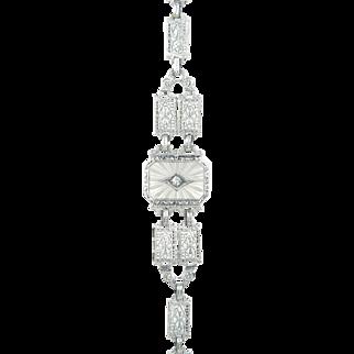 Vintage Estate 14 Karat Gold Carved Crystal Genuine Diamond Bracelet