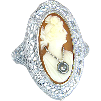 Vintage Estate 14k White Gold Genuine Diamond Hand Carved Cameo Ring 3.4g