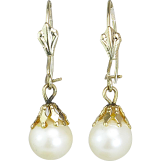 Estate Vintage 14 Karat Yellow Gold Genuine 7.4 MM Pearl Dangle Earrings