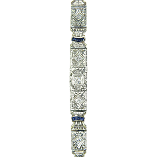 Vintage Estate .86ct Genuine Diamond & Blue Sapphire 14 Karat Gold Bracelet