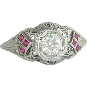 Vintage Estate 18 Karat White Gold .60 cttw K VS Genuine Diamond & Ruby Filigree Engagement Ring