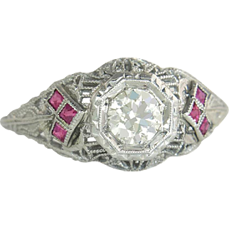 Vintage Estate 18 Karat White Gold .60 cttw K VS Genuine Diamond & Ruby Filigree Engagement Ring