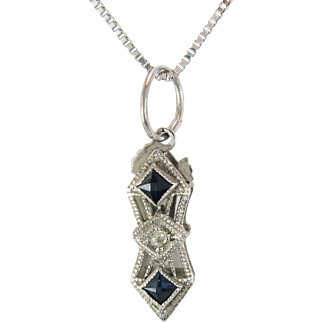 Vintage Estate 14k White Gold .10ct Genuine Diamond & Blue Sapphire Pendant