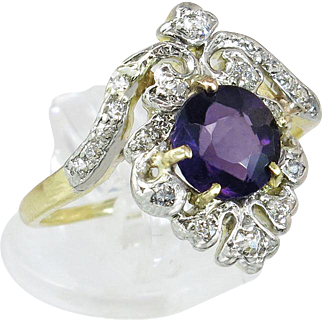 Vintage 10K Gold 1.00cttw Genuine Diamond & Amethyst Dinner Ring