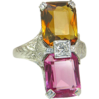Vintage Estate 14K White Gold 4.55ct Ruby Citrine & Diamond Ring 3.8g