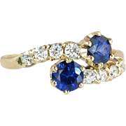 Antique Vintage Estate 14K Yellow Gold 1 cttw Genuine Diamond & Blue Sapphire Victorian Bypass Ring