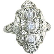 Antique Vintage Estate 18K White Gold .25cttw Genuine Diamond Flowers Engagement Ring